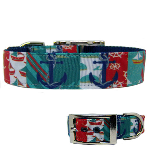 Sailing Pooch Printed Dog Collar - For medium to large dogs - dog-collar-fancy