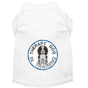 White dog shirt with Therapy dog in training embroidery