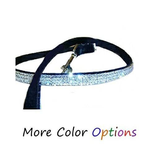 A velvet dog leash with three rows of crystals in your choice of colors.