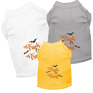 Trick or Treat Halloween Dog Shirts come in 3 color choices