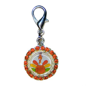 Colorful Turkey Pet Collar Charm - dog-collar-fancy