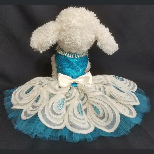 Turquoise Sequin Dog Dress - Tiny to large dogs - dog-collar-fancy