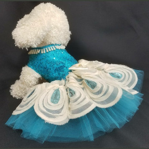 Turquoise Sequin Dog Dress - dog-collar-fancy