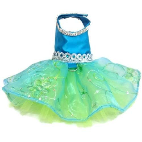 This beautiful dog tutu is made with turquoise satin and sequins.