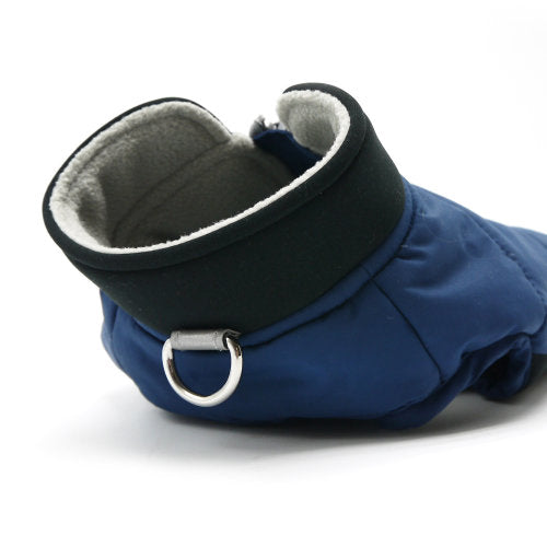 Navy Runner Dog Coat d-ring at neck