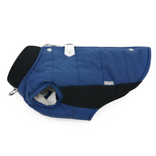 Navy Runner Dog Coat side view