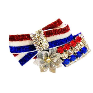 USA patriotic dog collar accessory with red, white and blue crystals.