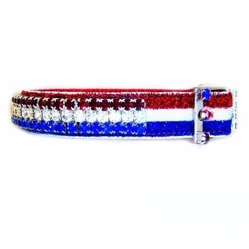 USA sparkle patriotic crystal pet collar side view.