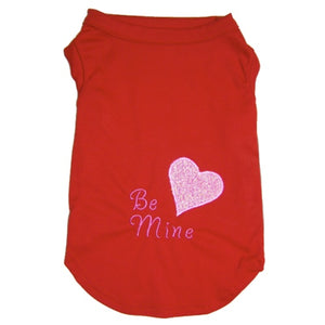 Be Mine Valentine's Day dog shirt with sparkly heart applique.
