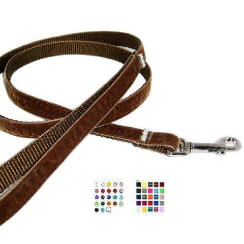 Velvet pet leash with crystal in your choice of colors.
