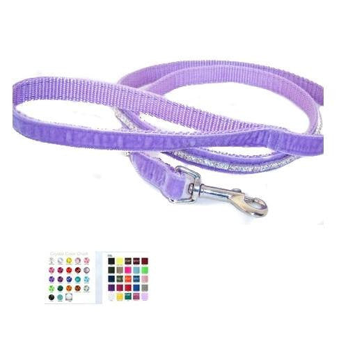 Velvet Pet Leash One Row of Crystals - crystal leashes - dog-collar-fancy