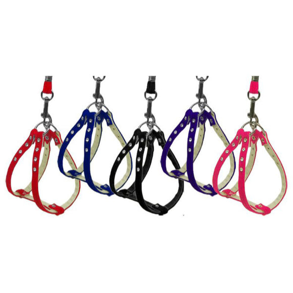 Velvet dog harness harnesses with crystal rhinestones