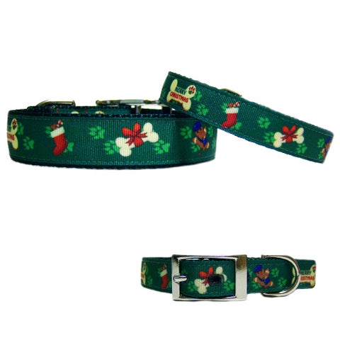 Christmas collar for dogs and cats adorned with bones, stockings and paw prints