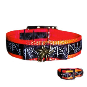 Halloween pet collar with spider webs print and bronze spider decoration.