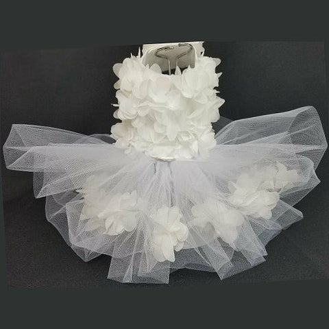 Beautiful white chiffon dog dress with encased white flowers in tutu.