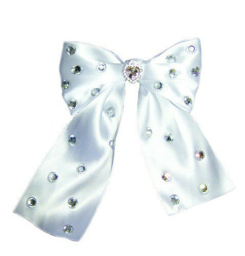 Fancy dog collar bow with crystals in satin.