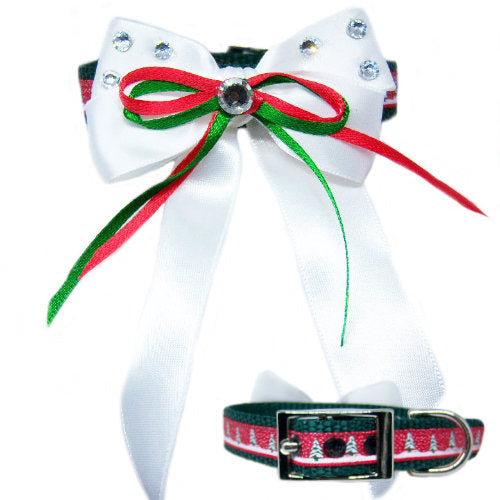Christmas tree pet collar with satin bow and rhinestones
