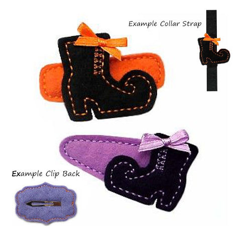 Witches Boot dog hair clip or collar accessory for Halloween.