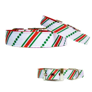 A cute Christmas pet collar with stripes and polka dots print.
