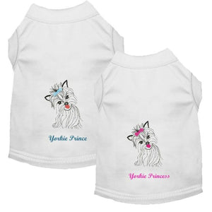 Embroidered dog shirt Yorkie dog shirt in Yorkie Princess or Yorkie Prince