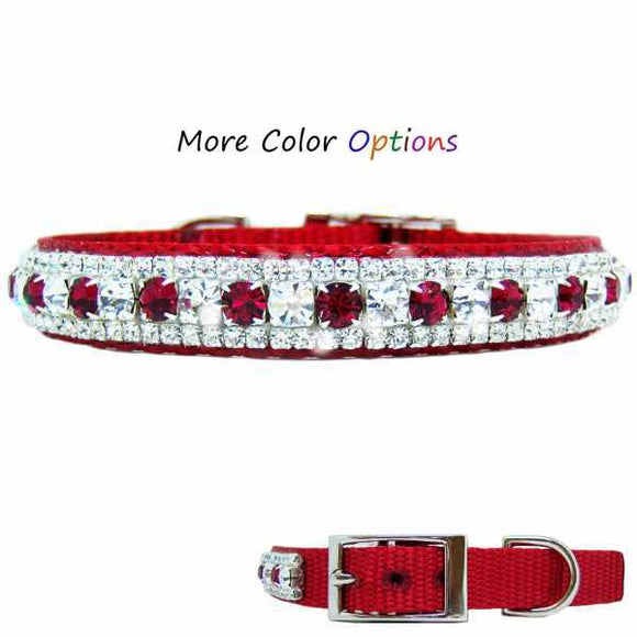 Custom fancy hand set crystal pet collar in a beautiful pattern