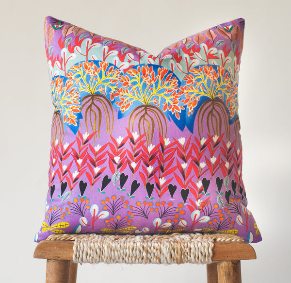 Magic Garden: Eclectic Botanical Print Pillow Cover
