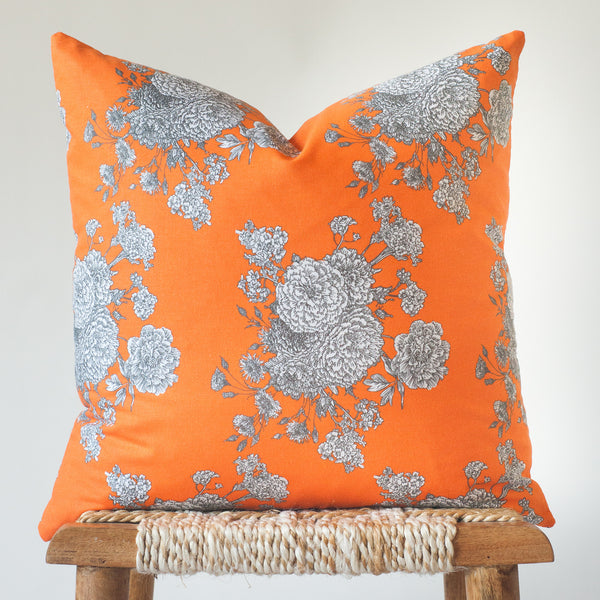 Marigold: Modern Orange Floral Throw Pillow Cover