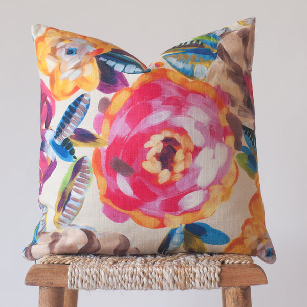 Painted Petals: Hot Pink Floral Pillow Cover