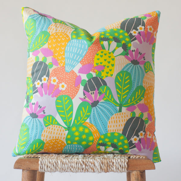 Anza: Pink, Green, and Blue Cactus Print Throw Pillow Cover