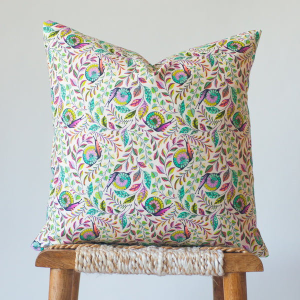 Snail Trail: Rainbow Garden Throw Pillow Cover