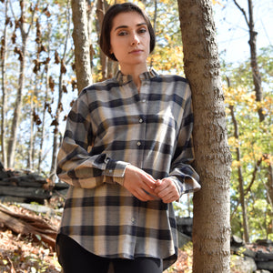 Ruffle Collar Flannel Check Shirt