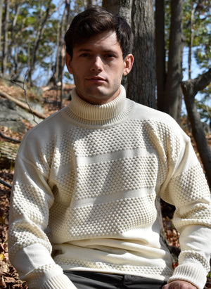Ivory Fisherman Wool Knit Turtleneck Sweater