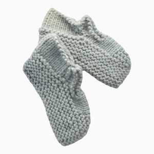 Sage Green Hand-Knit Wool Slippers