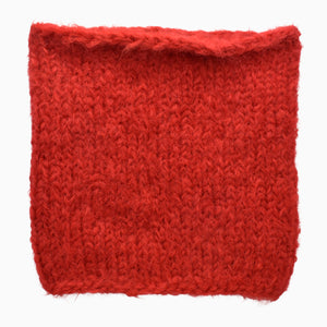 Bright Red Fuzzy Hand-Knit Snood