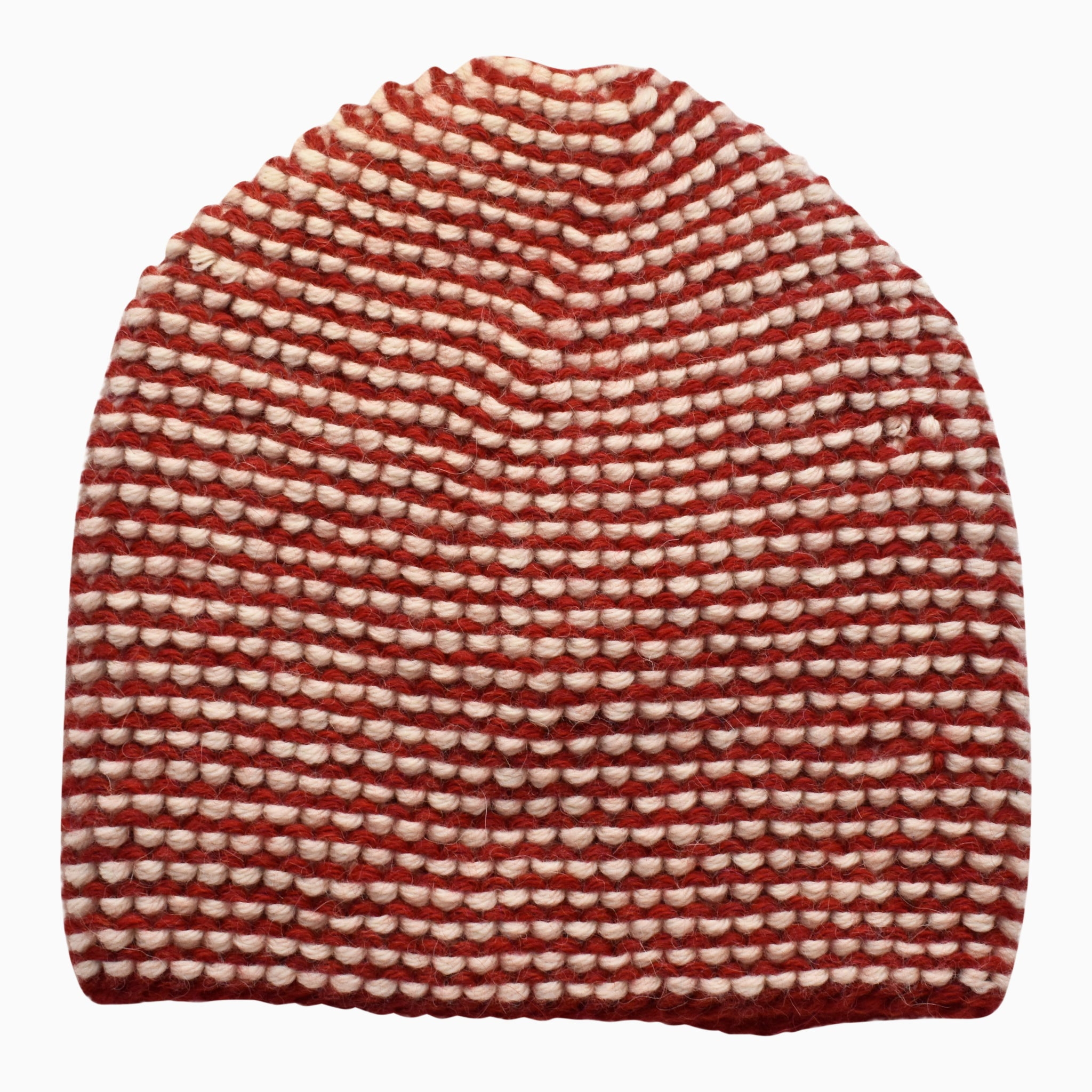 Hand-Knit Alpaca Red Check Hat
