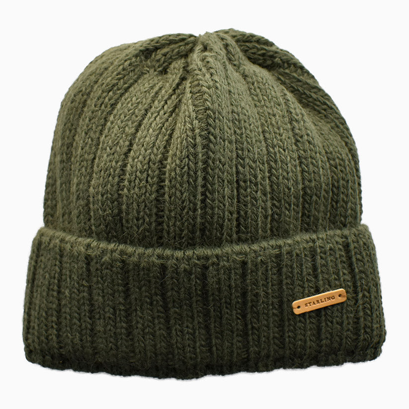 Moss Green Ribbed Knit Beanie