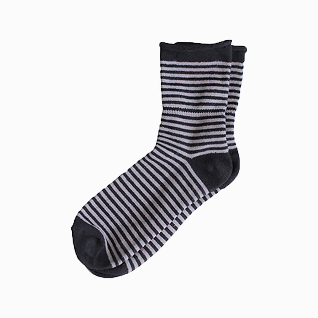 Charcoal Stripe Thin Rolled Fleece Socks