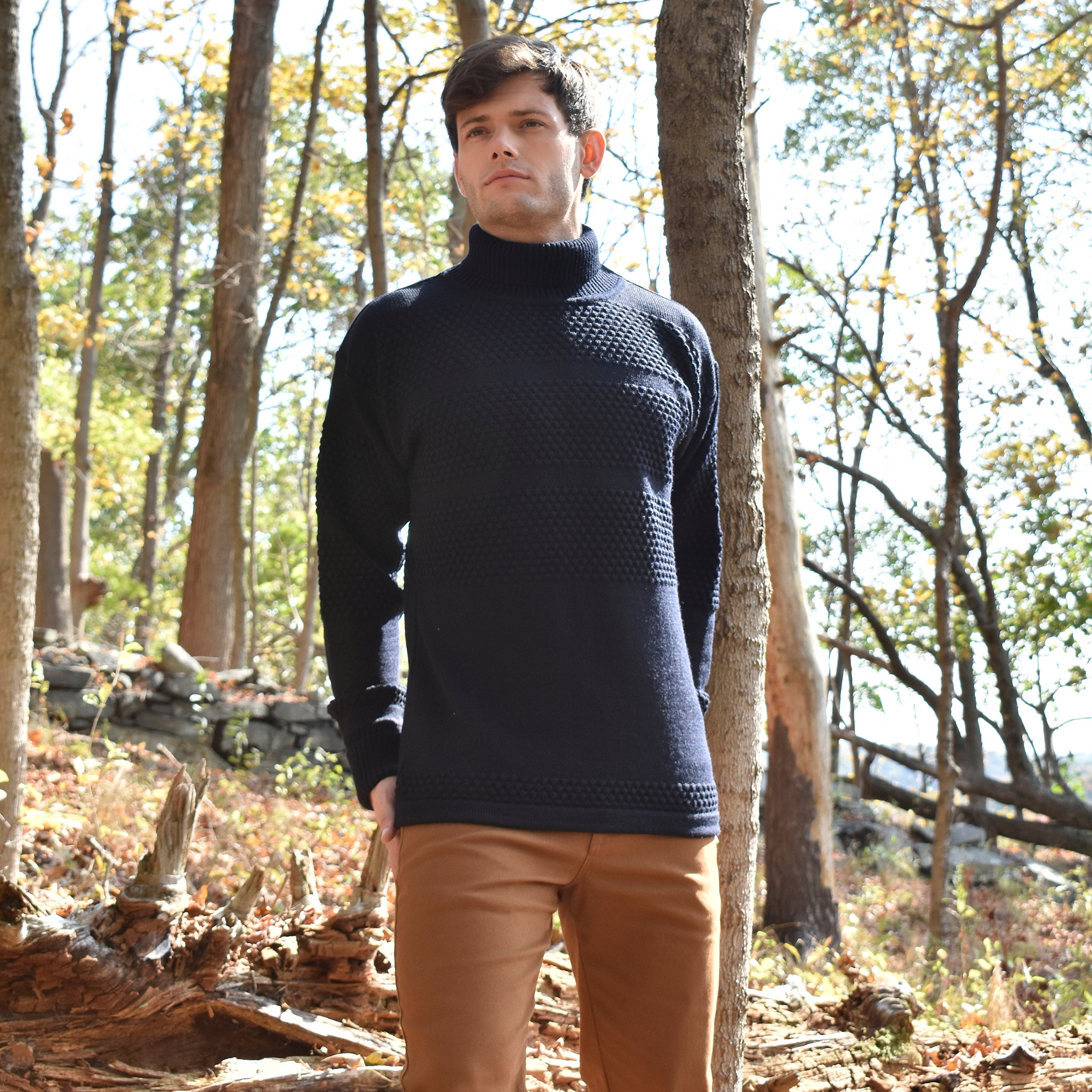 Navy Fisherman Wool Knit Turtleneck Sweater