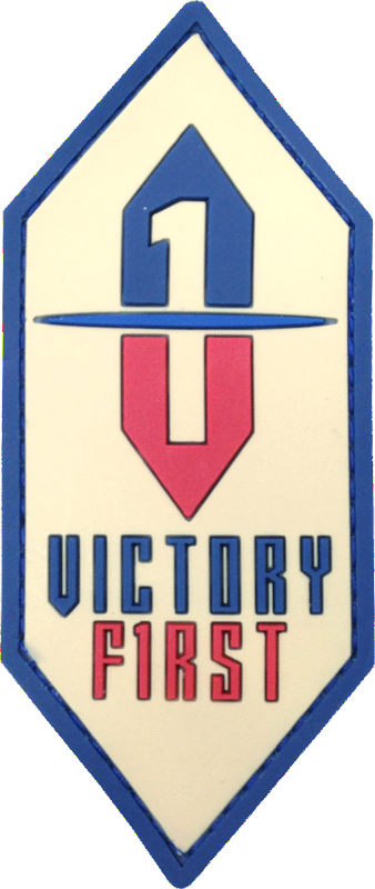 Victory First Logo Patch in our American proud full color layout. Patch made of soft 3D PVC in 4 colors, with Velcro hook backing. Made in the USA