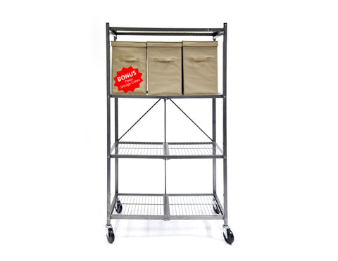 4-Tier Shelf with wheels and bonus storage cubes  R5-01W