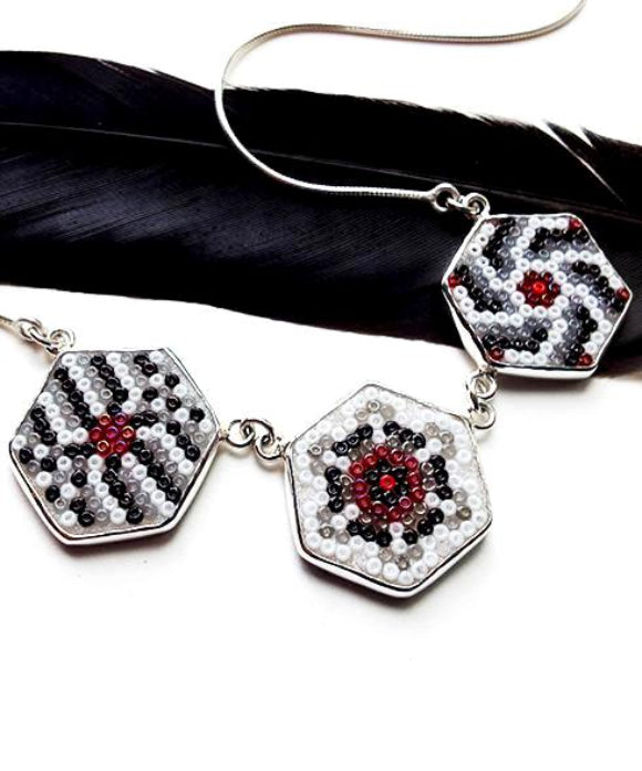 Black, White and Red Mandala Beaded Fused Glass Choker