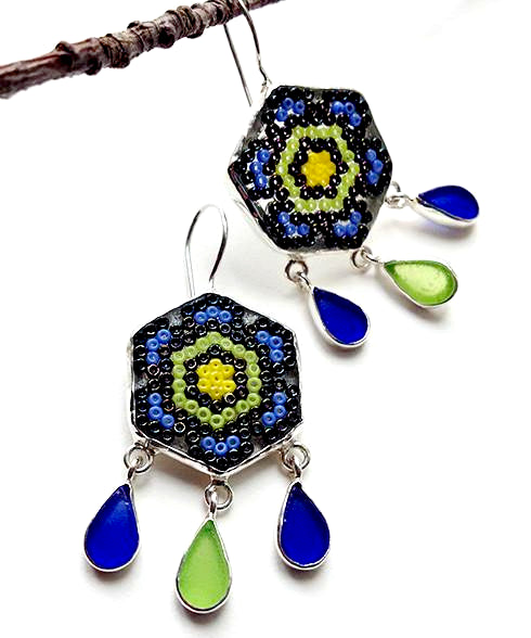 Fused Beaded Glass Mandala Flower Earrings with Sea Glass Drops