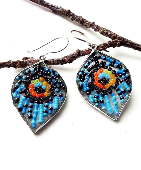 Blue Peacock Beaded Fused Glass Feather Earrings
