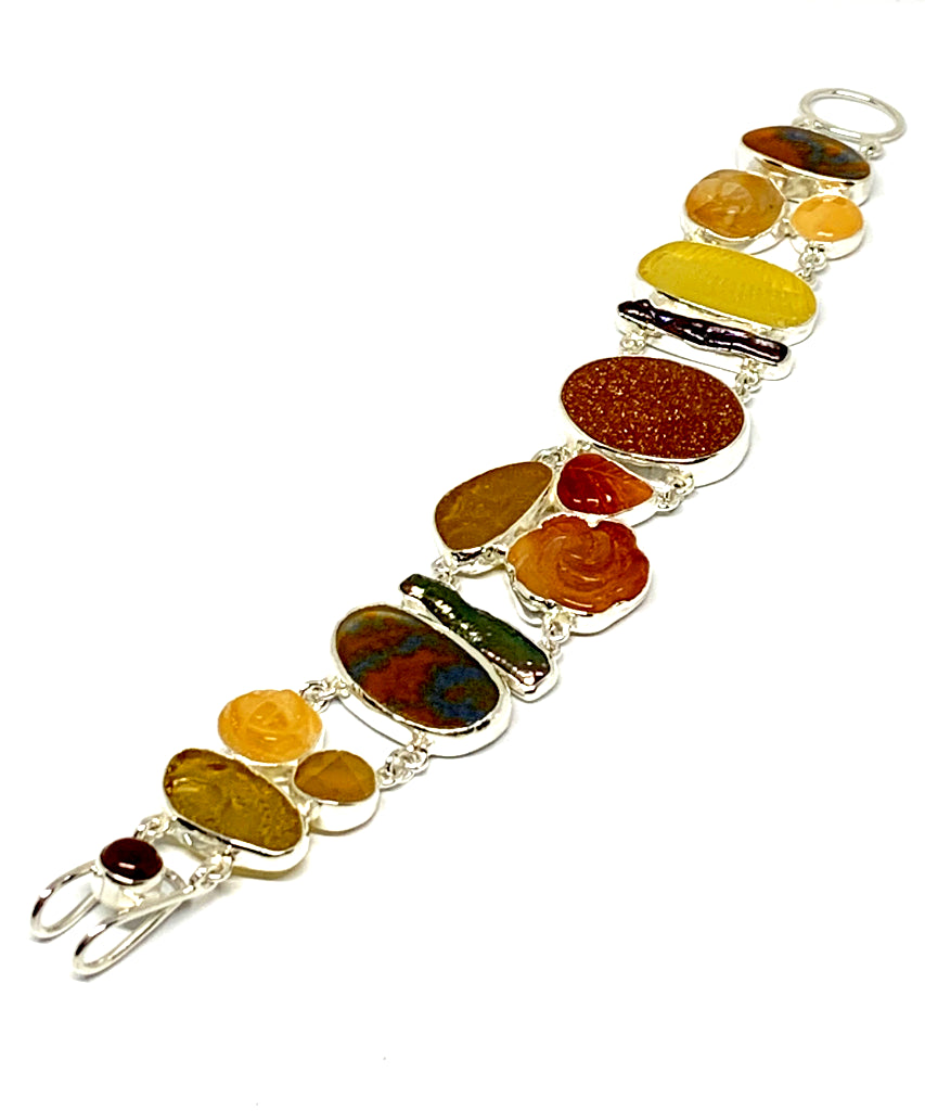 Textured Amber Sea Glass with Gold Stone,Agate Flowers, Carnelian and Fused Glass Cluster Bracelet