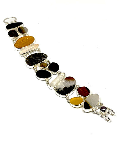 Amber & Brown Sea Glass with Petrified Shell, Crystals & Agate Cluster Bracelet