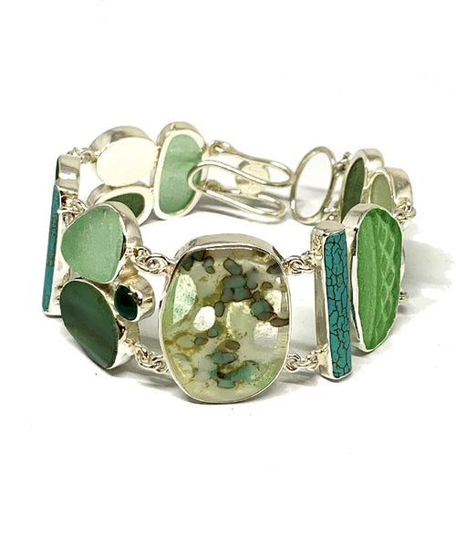 Green & Aqua Sea Glass with Amazonite,Turquoise and Fused Glass Cluster Bracelet