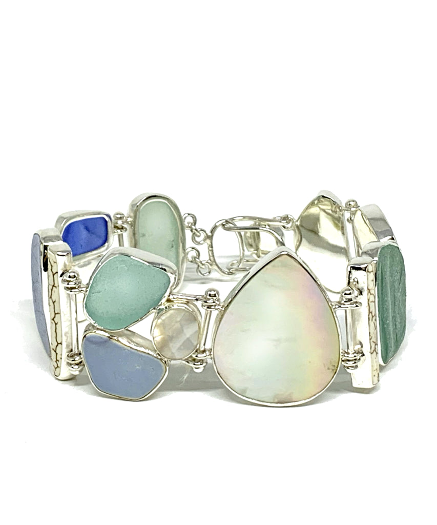 Aqua & Blue Sea Glass and Sea Pottery with Mother of Pearl Cluster Bracelet