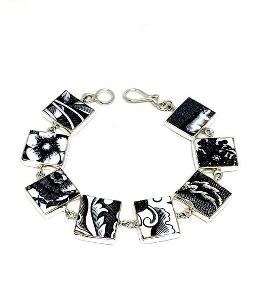 Black and White Vintage Pottery Bracelet - 7 1/2