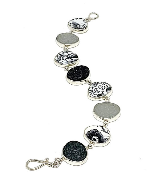 Black and White Vintage Pottery with Shades of Grey Sea Glass Bracelet - 8
