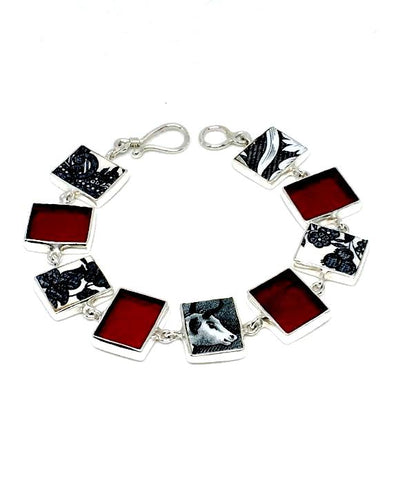 Black and White Vintage Pottery with Red Stained Glass Bracelet - 7 1/4